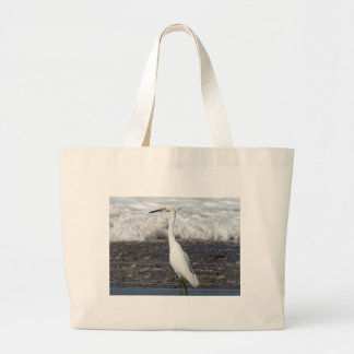 Egret Standing Tall Large Tote Bag