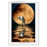 Egret y Saludo-tarjeta de oro del arte de la fauna