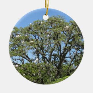 Egrets en un ornamento del árbol ornato