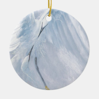 Egrets in love Birds in courtship Christmas Tree Ornament