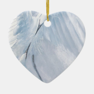 Egrets in love Birds in courtship Christmas Tree Ornaments