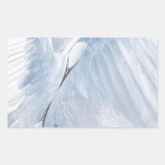 Egrets in love. Birds in courtship Rectangular Sticker