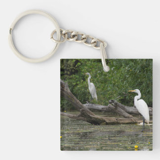 Egrets on the Thunder Bay River keychain