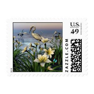 Egrets Pond II -Bird, Egret, Day Lillies Stamps