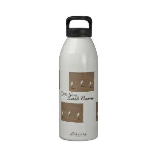 Egrets que callejean en la playa botella de beber