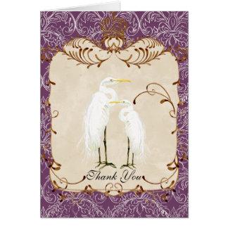 Egrets reales, remolinos y damasco, gracias tarjeta pequeña