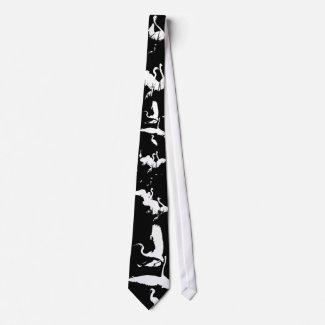 Egrets Silhouette Art Tie tie