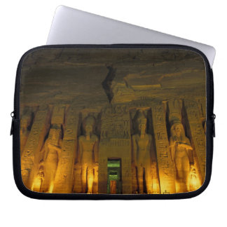 Egypt, Abu Simbel, Lighted facade of Small Laptop Computer Sleeves