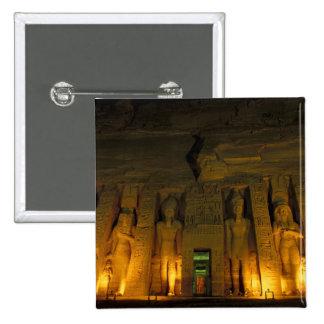 Egypt, Abu Simbel, Lighted facade of Small Pinback Button