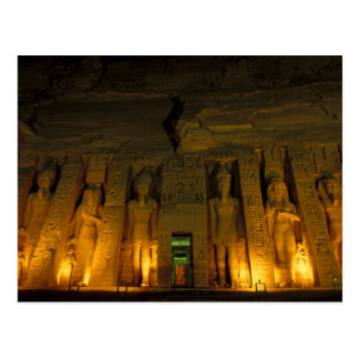 Egypt, Abu Simbel, Lighted facade of Small Postcard