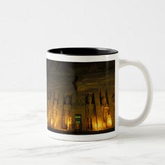 Egypt, Abu Simbel, Lighted facade of Small Two-Tone Coffee Mug