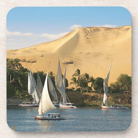 Egypt, Aswan, Nile River, Felucca sailboats, 2 Beverage Coaster