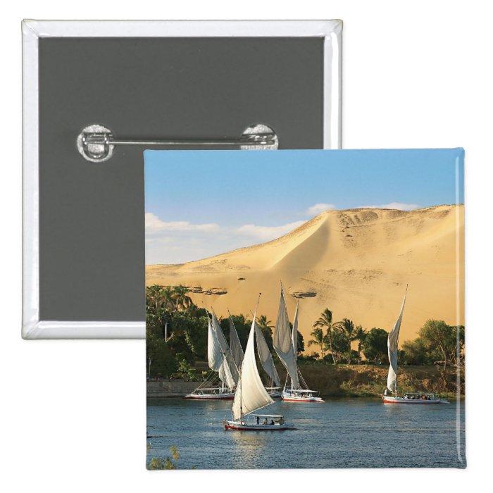 Egypt, Aswan, Nile River, Felucca sailboats, 2 Button