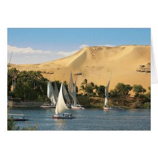Egypt, Aswan, Nile River, Felucca sailboats, 2 Greeting Card