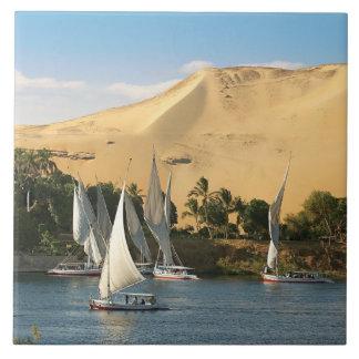 Egypt, Aswan, Nile River, Felucca sailboats, 2 Ceramic Tile