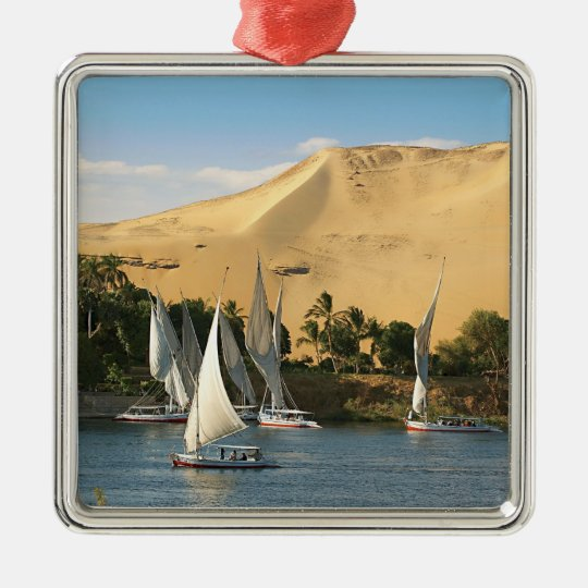 Egypt, Aswan, Nile River, Felucca sailboats, 2 Metal Ornament