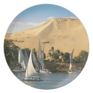 Egypt, Aswan, Nile River, Felucca sailboats, 2 Dinner Plate