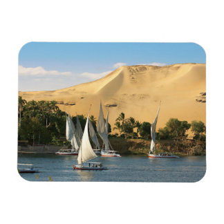 Egypt, Aswan, Nile River, Felucca sailboats, 2 Rectangle Magnets