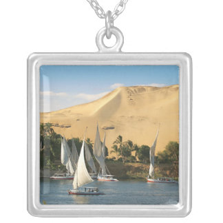Egypt, Aswan, Nile River, Felucca sailboats, 2 Square Pendant Necklace