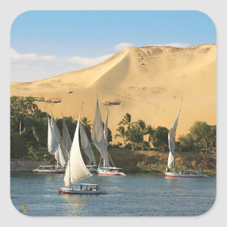 Egypt, Aswan, Nile River, Felucca sailboats, 2 Square Stickers