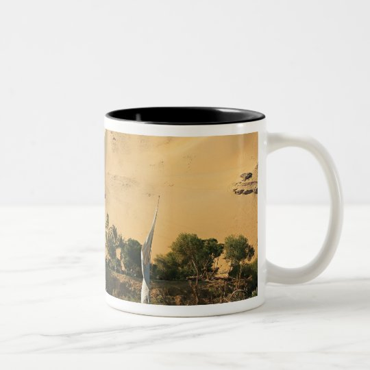 Egypt, Aswan, Nile River, Felucca sailboats, 2 Two-Tone Coffee Mug