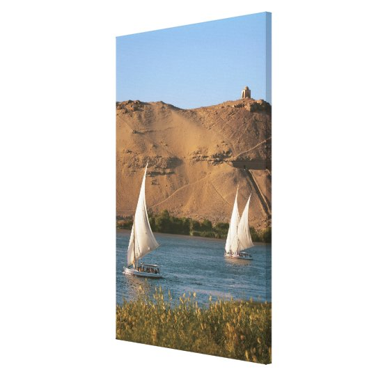 Egypt, Aswan, Nile River, Felucca sailboats, Canvas Print