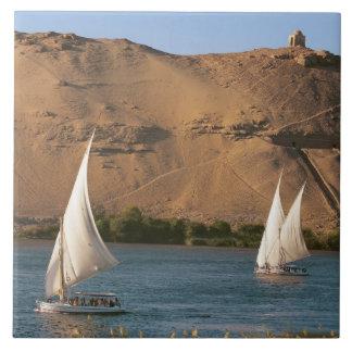 Egypt, Aswan, Nile River, Felucca sailboats, Ceramic Tile
