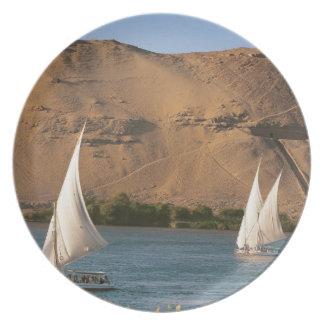 Egypt, Aswan, Nile River, Felucca sailboats, Dinner Plates