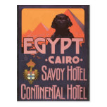 Egypt Cairo Savoy Hotel Continental Hotel, Vintage Postcard