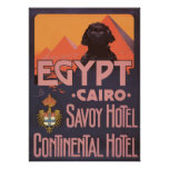 Egypt Cairo Savoy Hotel Continental Hotel, Vintage Poster