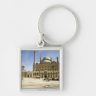 Egypt, Cairo. The imposing Mohammed Ali Mosque Silver-Colored Square Keychain