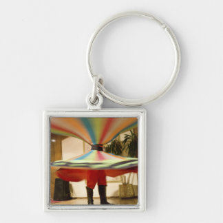 Egypt, Cairo. Whirling dervish dazzling GCT Silver-Colored Square Keychain