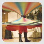 Egypt, Cairo. Whirling dervish dazzling GCT Square Sticker