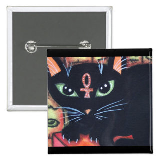 Egypt Cat With Ankh 2 Inch Square Button