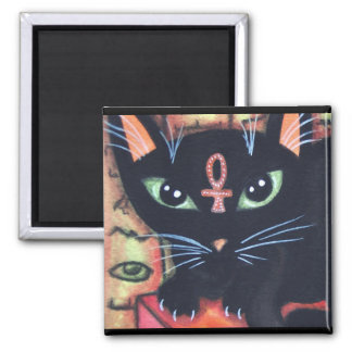 Egypt Cat With Ankh 2 Inch Square Magnet