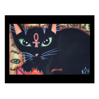 Egypt Cat With Ankh Postcard