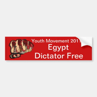 Egypt, Dictator Free, Youth Movement 2011 Bumper Sticker
