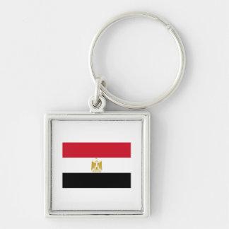 Egypt EG جمهورية مصر العربية Silver-Colored Square Keychain