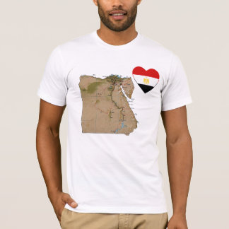 Egypt Flag Heart and Map T-Shirt