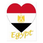 Egypt Flag Heart Post Card