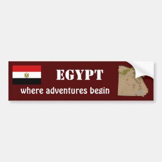 Egypt Flag + Map Bumper Sticker