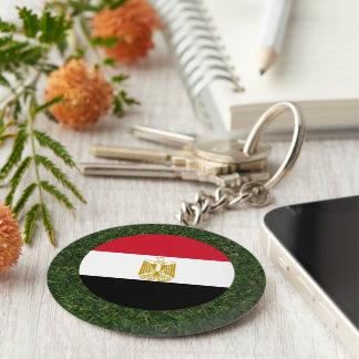 Egypt Flag on Grass Basic Round Button Keychain