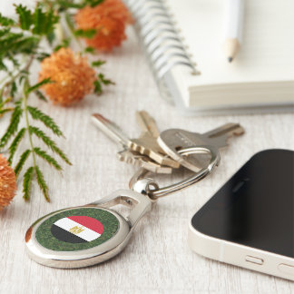 Egypt Flag on Grass Silver-Colored Oval Metal Keychain