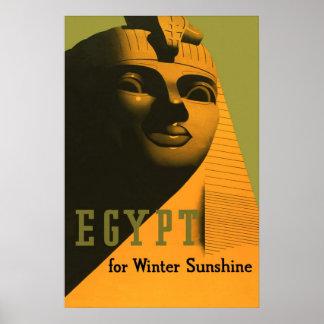 Egypt for Winter Sunshine Vintage Travel Poster