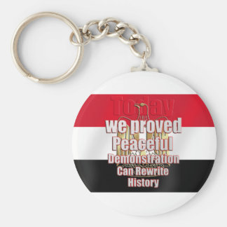Egypt freed by peaceful demonstration basic round button keychain