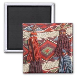 Egypt, Giza. Camel blanket at the Pyramids of 2 Inch Square Magnet