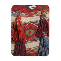 Egypt, Giza. Camel blanket at the Pyramids of Magnet