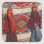 Egypt, Giza. Camel blanket at the Pyramids of Square Sticker