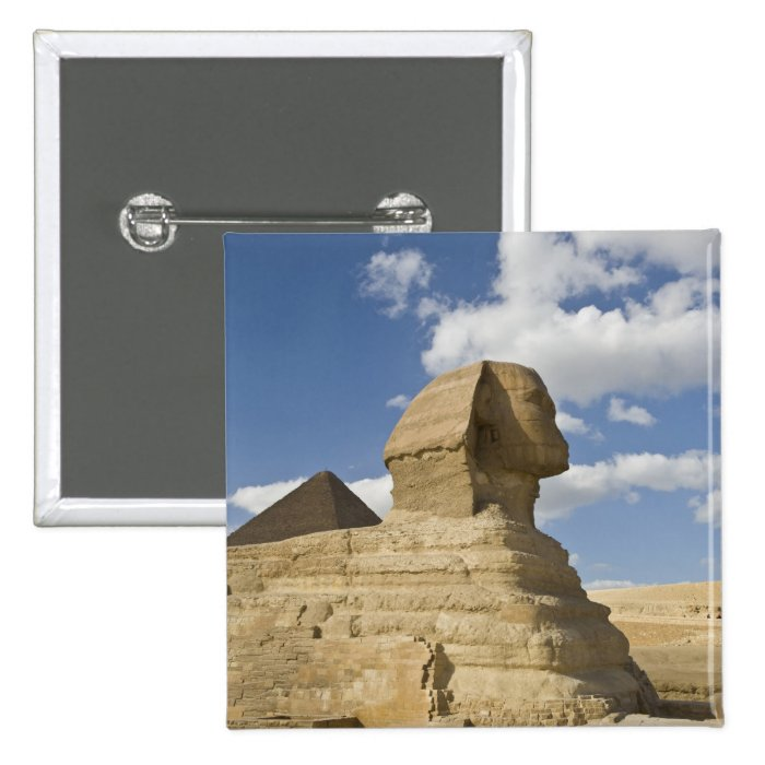 Egypt, Giza. The great Sphynx rises above the Button