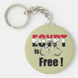 Egypt is free of being handcuffed to the Pharoah Basic Round Button Keychain
